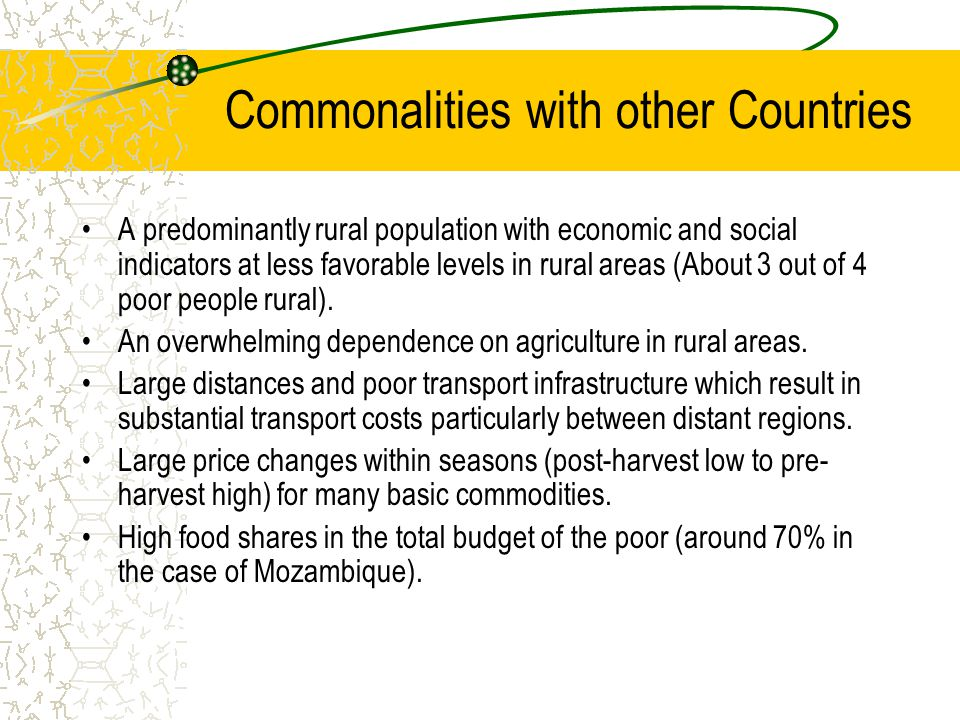 Commonalities with other Countries A predominantly rural population with economic and social indicators at less favorable levels in rural areas (About 3 out of 4 poor people rural).