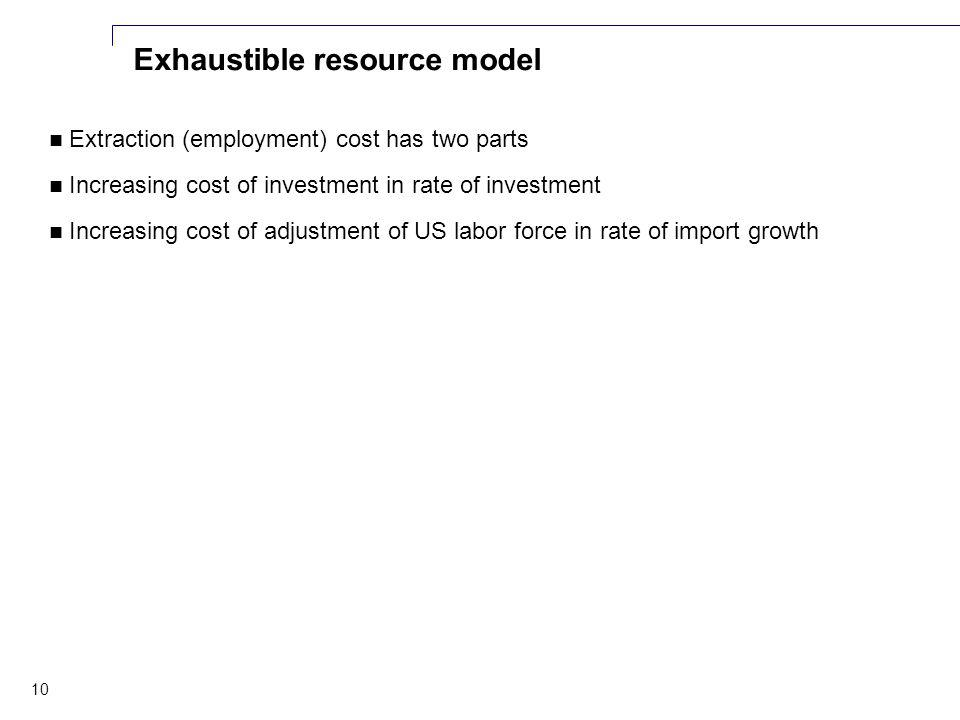 10 Exhaustible resource model Extraction (employment) cost has two parts Increasing cost of investment in rate of investment Increasing cost of adjustment of US labor force in rate of import growth