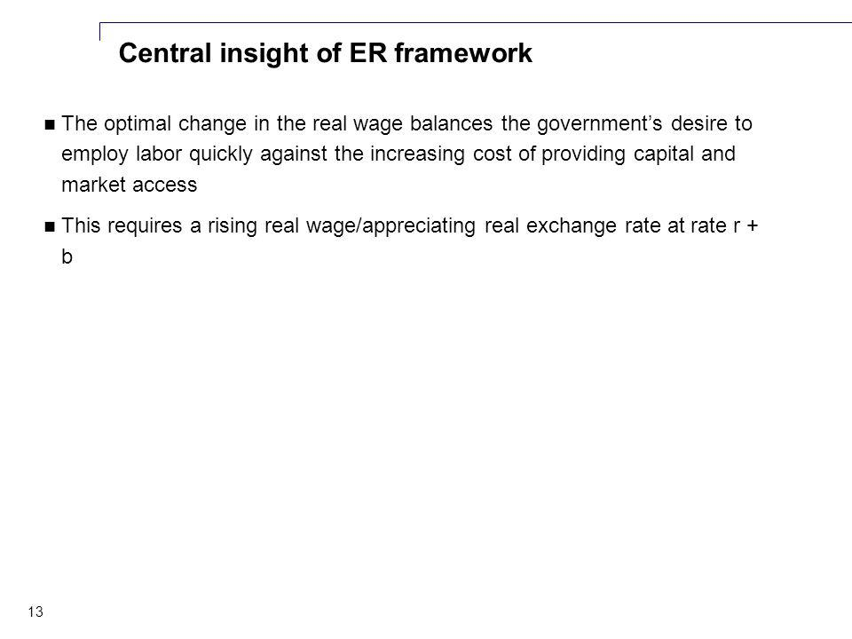 13 Central insight of ER framework The optimal change in the real wage balances the government's desire to employ labor quickly against the increasing cost of providing capital and market access This requires a rising real wage/appreciating real exchange rate at rate r + b