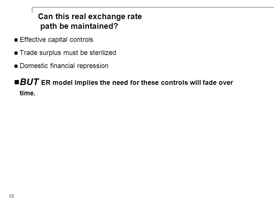 15 Can this real exchange rate path be maintained.