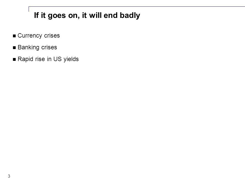 3 If it goes on, it will end badly Currency crises Banking crises Rapid rise in US yields