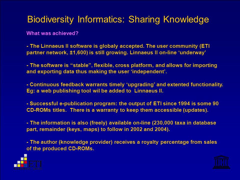 Biodiversity Informatics: Sharing Knowledge What was achieved.