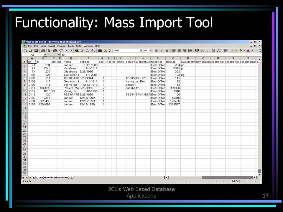 2C1 s Web Based Database Applications14 Functionality: Mass Import Tool