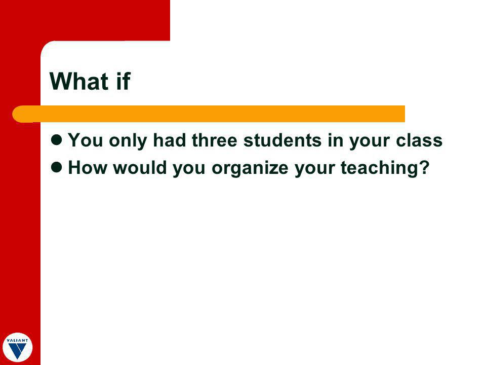 What if You only had three students in your class How would you organize your teaching?