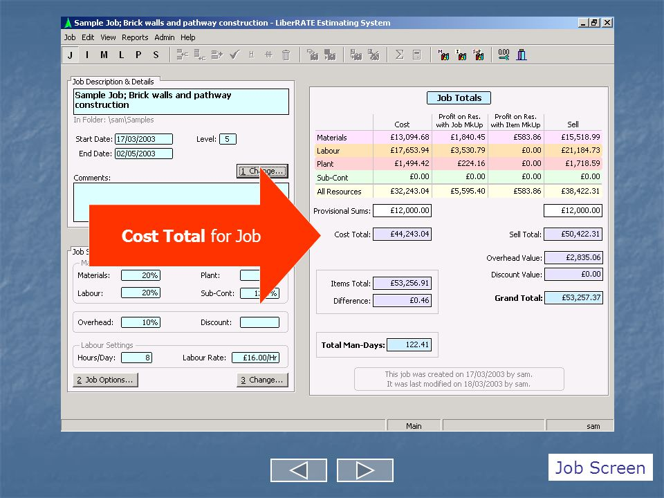 Cost Total for Job Job Screen