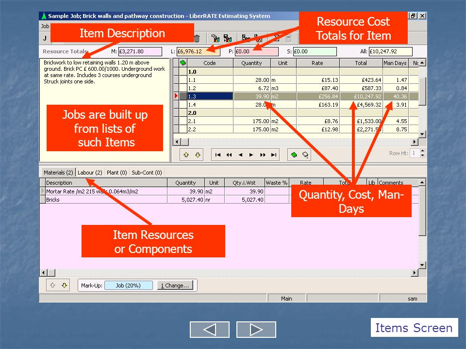 Item Description Item Resources or Components Jobs are built up from lists of such Items Resource Cost Totals for Item Quantity, Cost, Man- Days Items Screen