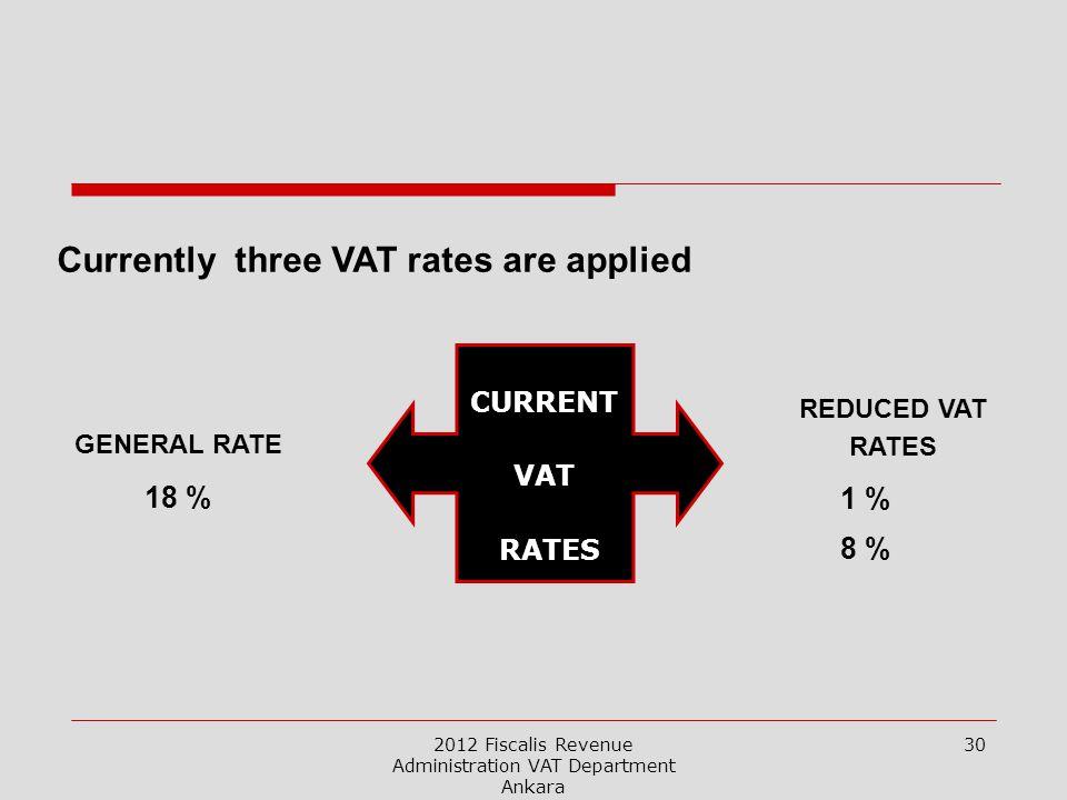 2012 Fiscalis Revenue Administration VAT Department Ankara 30 CURRENT VAT RATES GENERAL RATE 18 % REDUCED VAT RATES 1 % 8 % Currently three VAT rates are applied