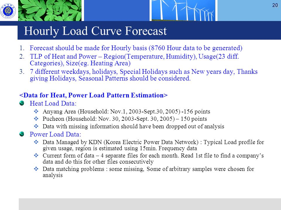 20 Hourly Load Curve Forecast 1.Forecast should be made for Hourly basis (8760 Hour data to be generated) 2.TLP of Heat and Power – Region(Temperature, Humidity), Usage(23 diff.