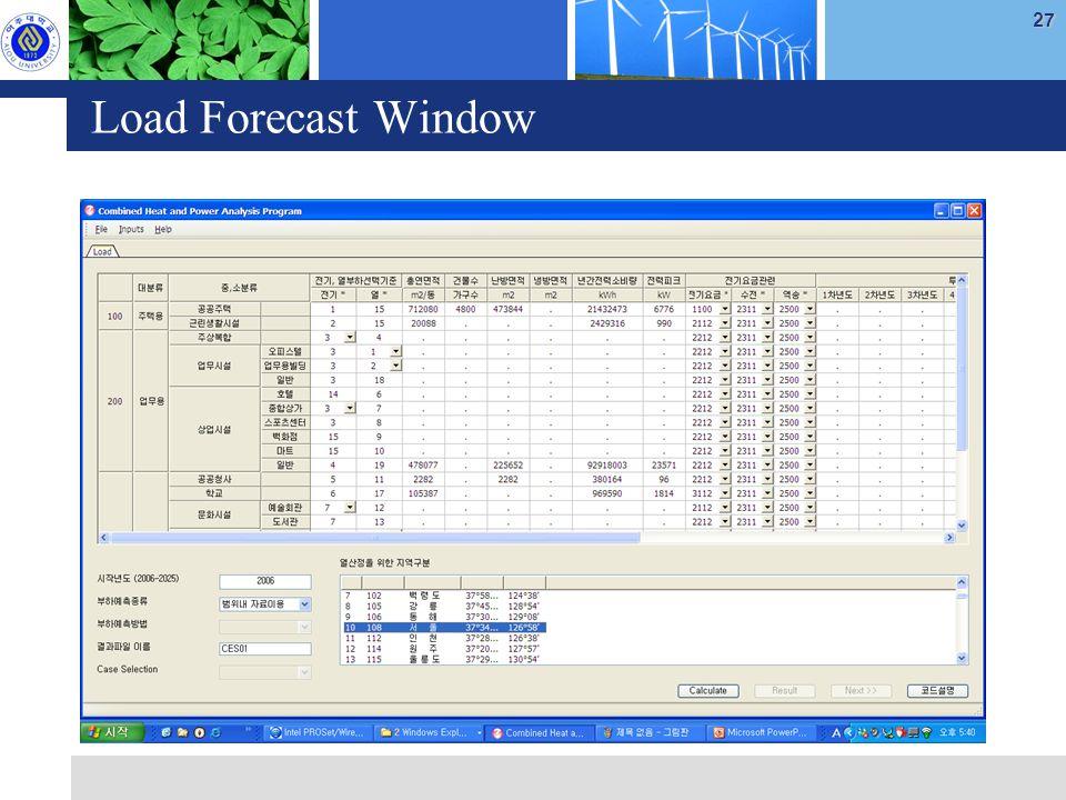 27 Load Forecast Window