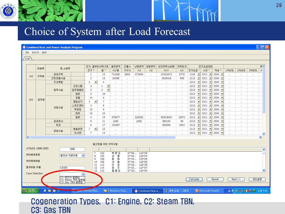 28 Choice of System after Load Forecast Cogeneration Types, C1: Engine, C2: Steam TBN, C3: Gas TBN