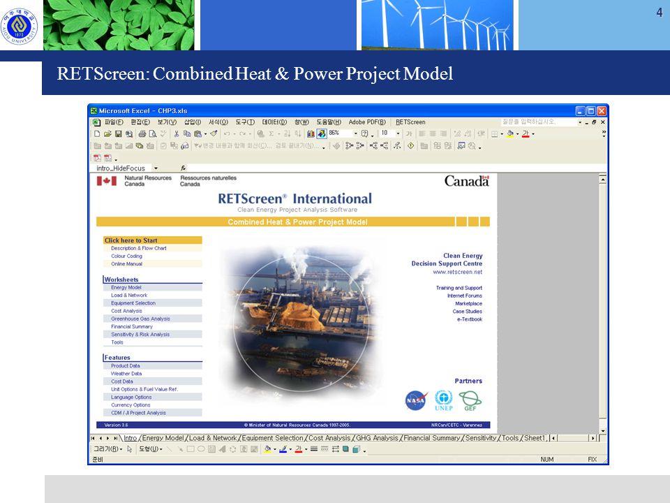 4 RETScreen: Combined Heat & Power Project Model