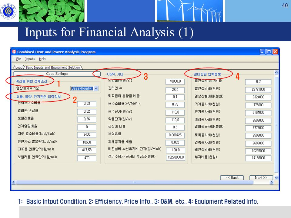 40 Inputs for Financial Analysis (1) 1 2 34 1: Basic Intput Condition, 2: Efficiency, Price Info., 3: O&M, etc., 4: Equipment Related Info.