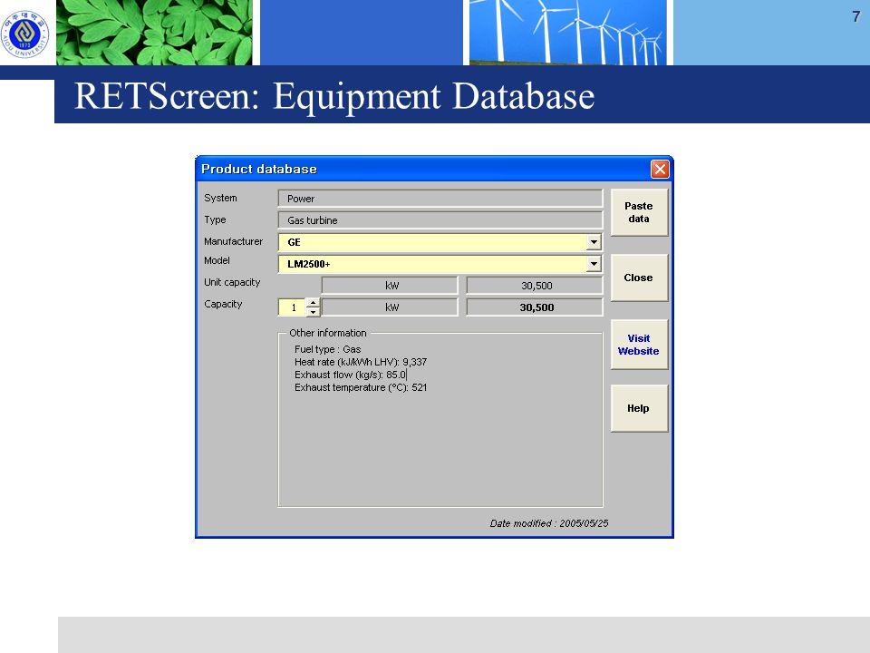 7 RETScreen: Equipment Database