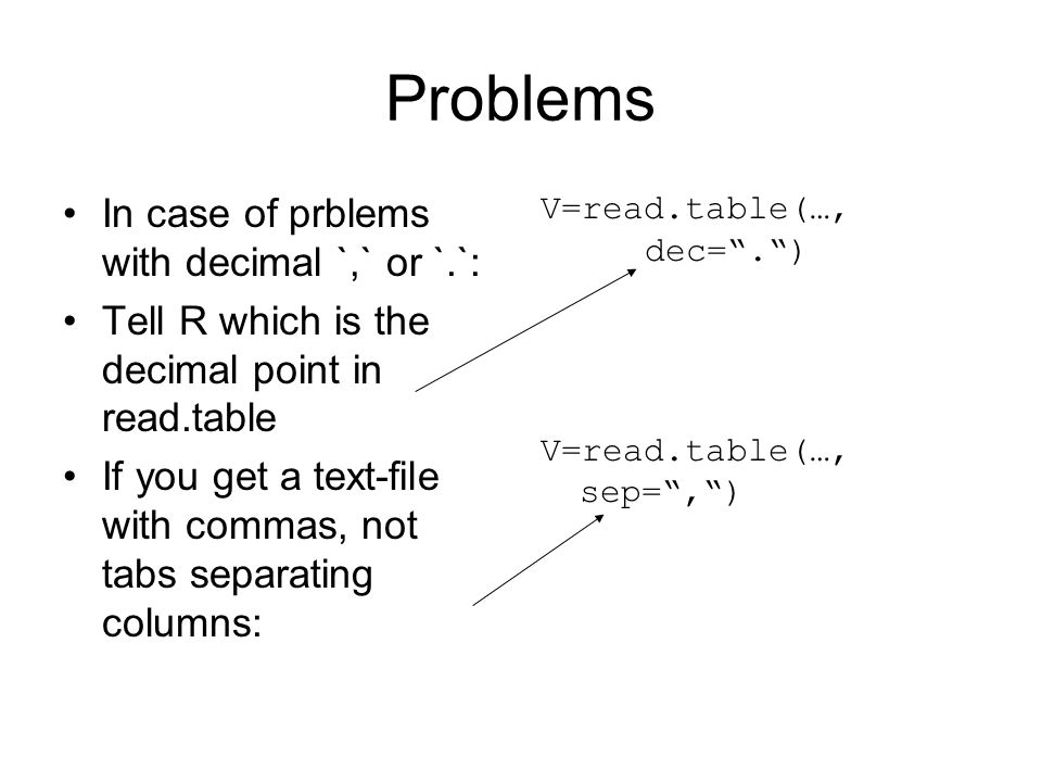 Problems In case of prblems with decimal `,` or `.`: Tell R which is the decimal point in read.table If you get a text-file with commas, not tabs sepa