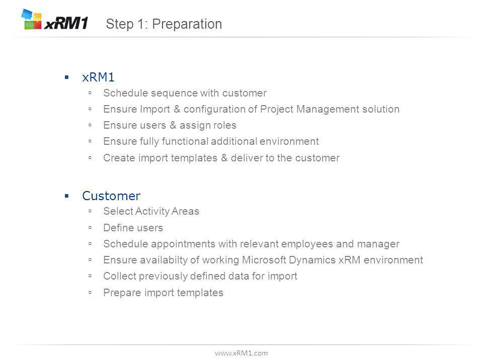 www.xRM1.com Step 1: Preparation  xRM1 ▫ Schedule sequence with customer ▫ Ensure Import & configuration of Project Management solution ▫ Ensure users & assign roles ▫ Ensure fully functional additional environment ▫ Create import templates & deliver to the customer  Customer ▫ Select Activity Areas ▫ Define users ▫ Schedule appointments with relevant employees and manager ▫ Ensure availabilty of working Microsoft Dynamics xRM environment ▫ Collect previously defined data for import ▫ Prepare import templates