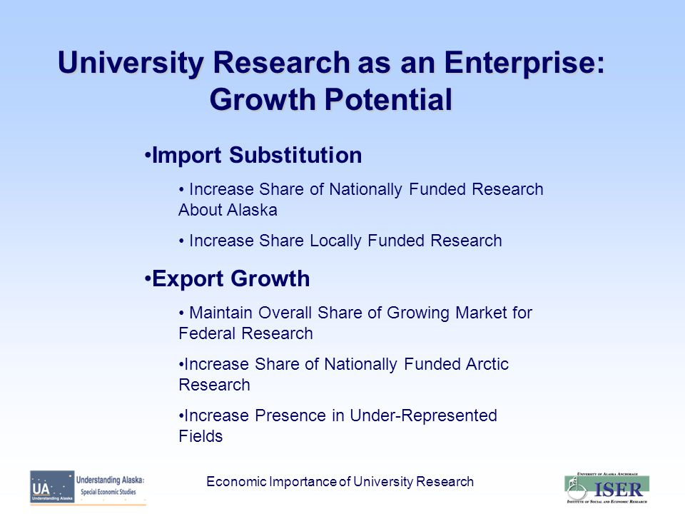 University Research as an Enterprise: Growth Potential Import Substitution Increase Share of Nationally Funded Research About Alaska Increase Share Locally Funded Research Export Growth Maintain Overall Share of Growing Market for Federal Research Increase Share of Nationally Funded Arctic Research Increase Presence in Under-Represented Fields Economic Importance of University Research