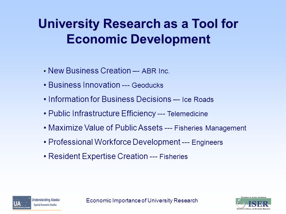 University Research as a Tool for Economic Development New Business Creation –- ABR Inc.