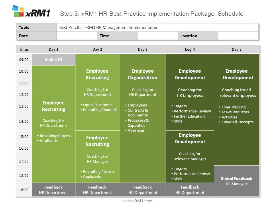 www.xRM1.com Step 3: xRM1 HR Best Practice Implementation Package Schedule