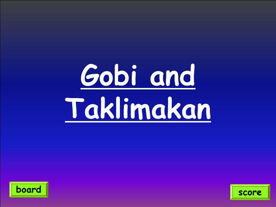 Gobi and Taklimakan score board