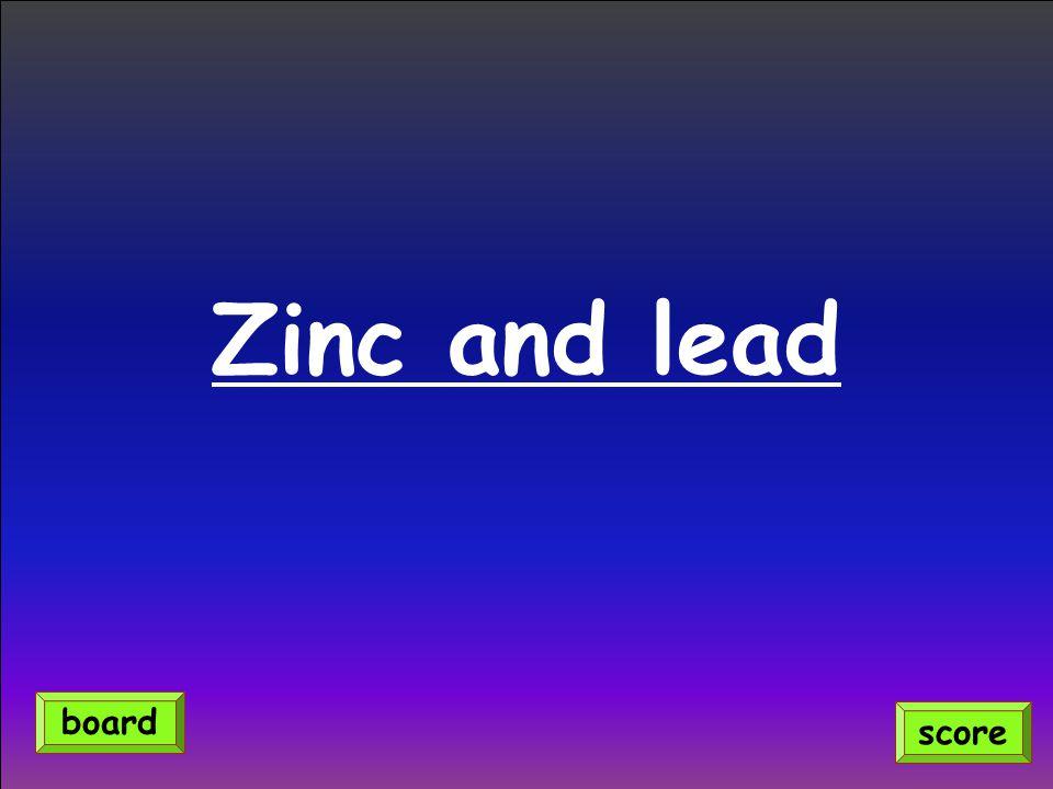Zinc and lead score board