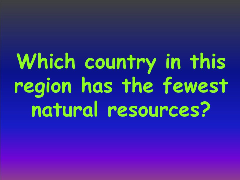 Which country in this region has the fewest natural resources