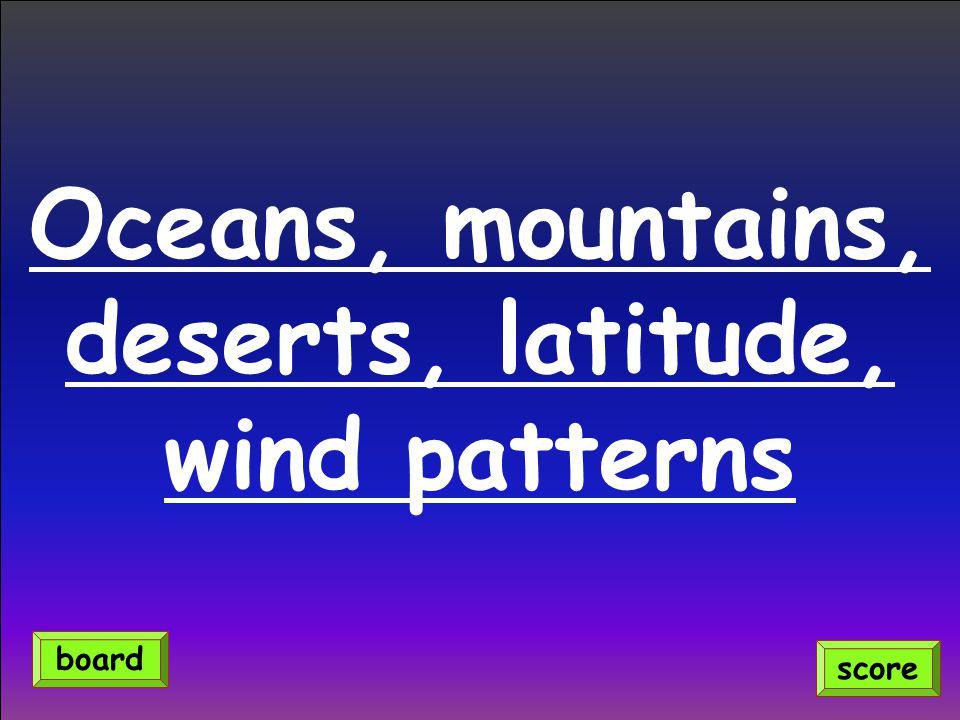 Oceans, mountains, deserts, latitude, wind patterns score board