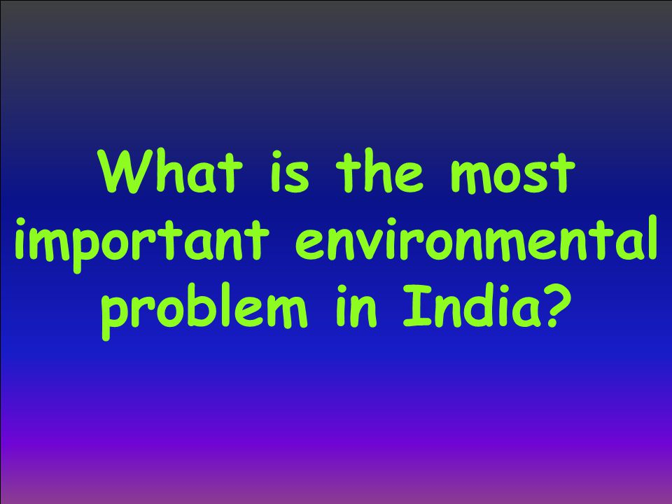 What is the most important environmental problem in India