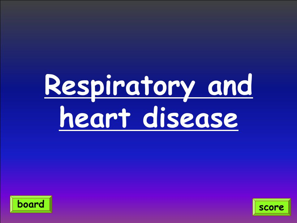 Respiratory and heart disease score board