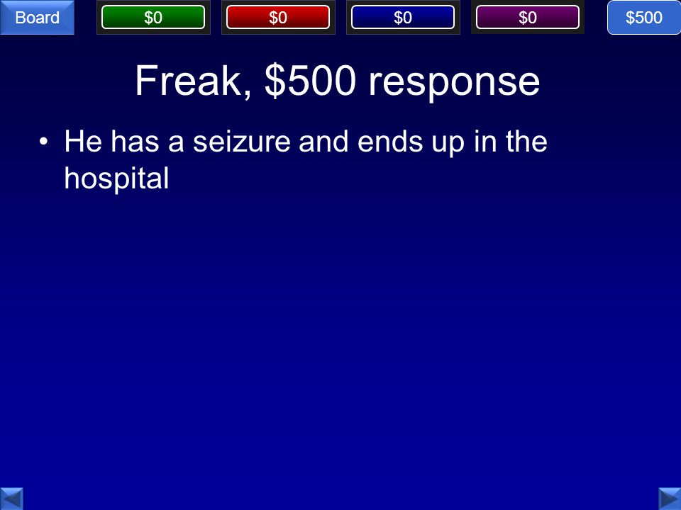 $0 Board Freak, $500 response He has a seizure and ends up in the hospital $500