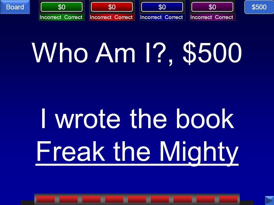 CorrectIncorrectCorrectIncorrectCorrectIncorrectCorrectIncorrect $0 Board Who Am I?, $500 I wrote the book Freak the Mighty $500