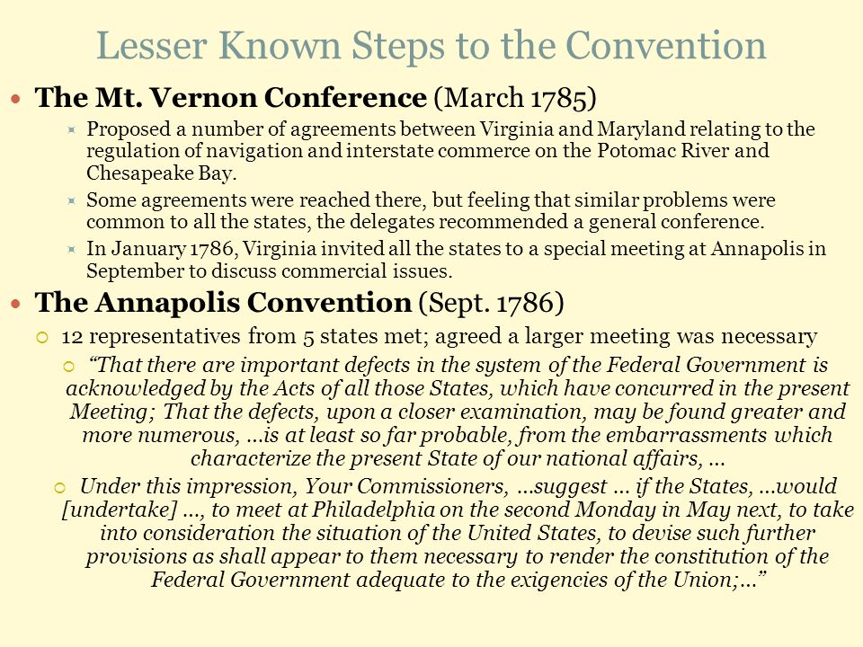 Lesser Known Steps to the Convention The Mt.