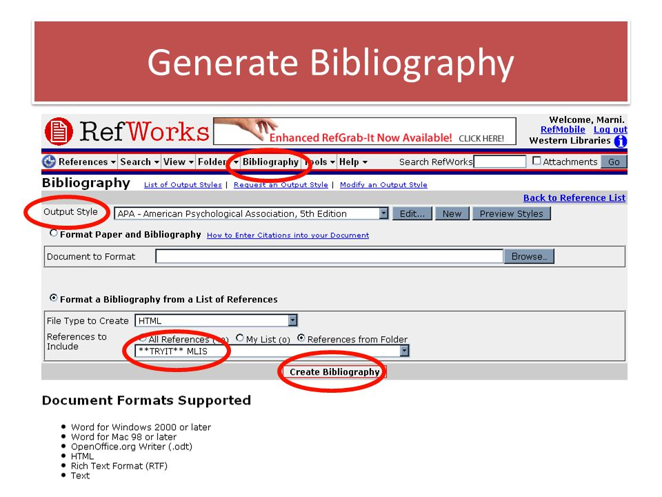 Generate Bibliography