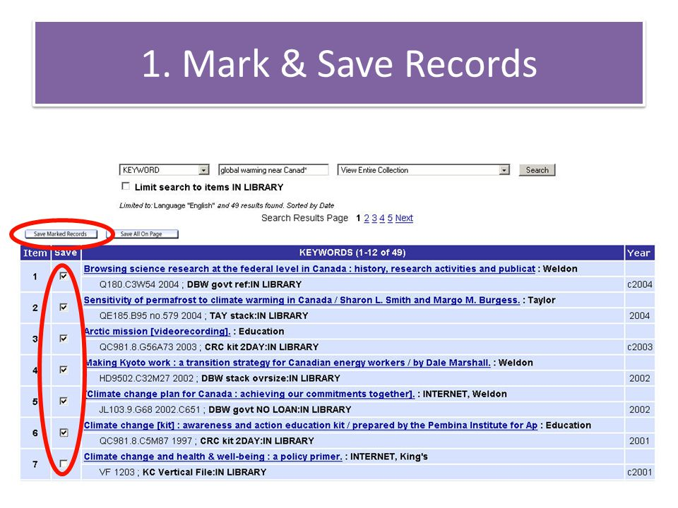 1. Mark & Save Records