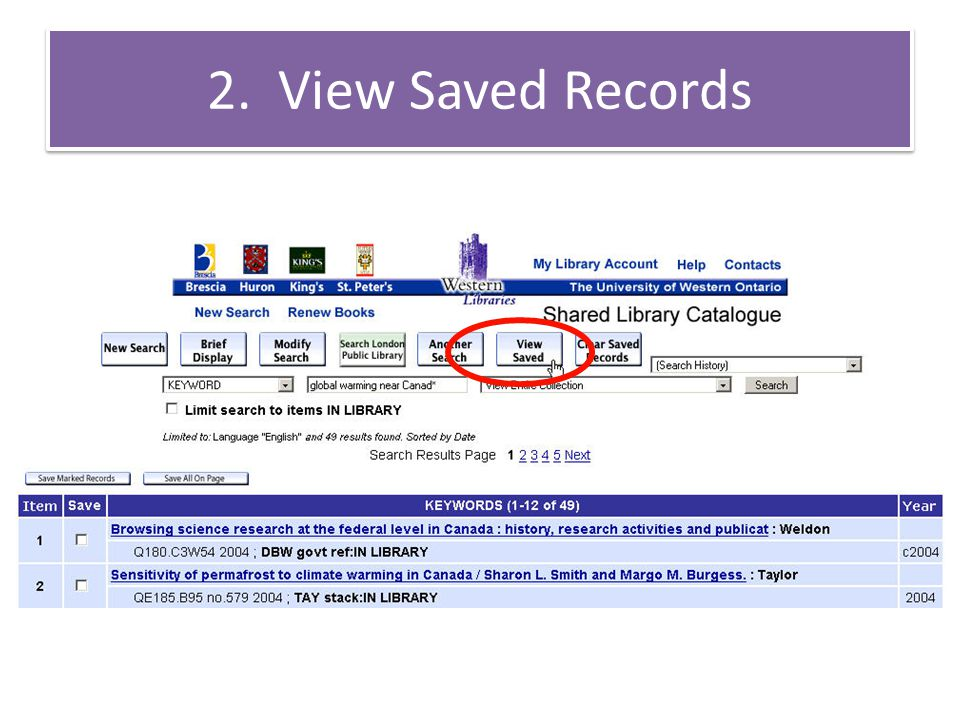 2. View Saved Records