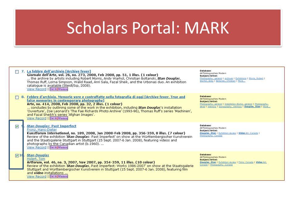 Scholars Portal: MARK