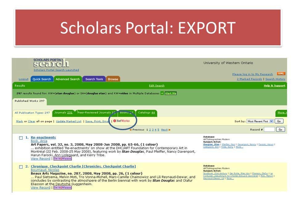 Scholars Portal: EXPORT