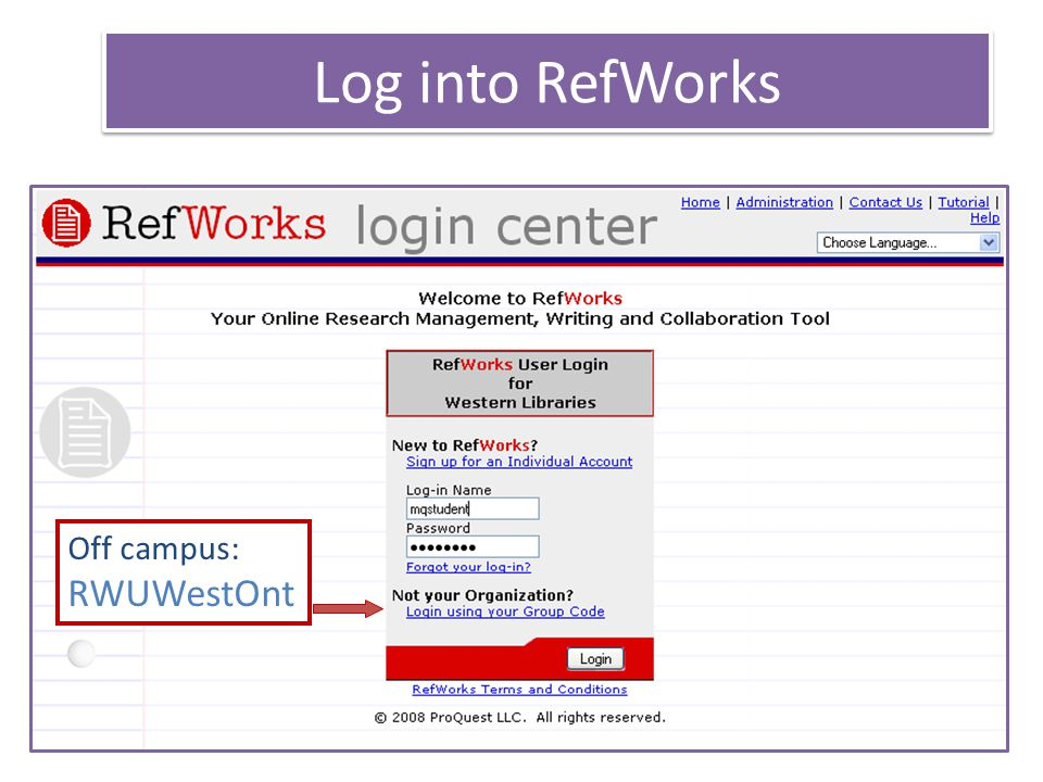 Set-up RefWorks account Use your UWO email address Use a combination username and password that is different than your UWO username and password YOUR TURN