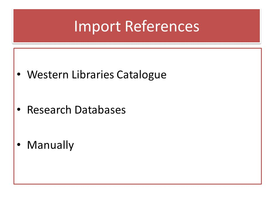 Add records from the catalogue From the catalogue record – Click on RefWorks image