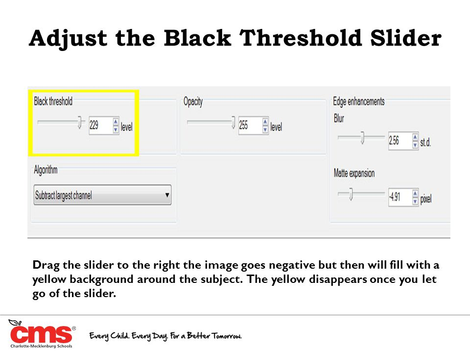 Adjust the Black Threshold Slider Drag the slider to the right the image goes negative but then will fill with a yellow background around the subject.