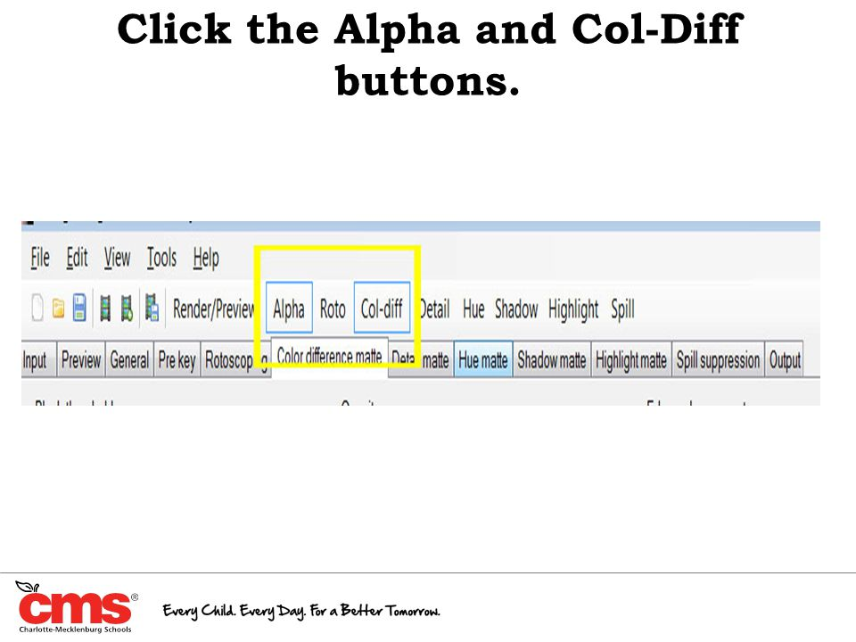 Click the Alpha and Col-Diff buttons.