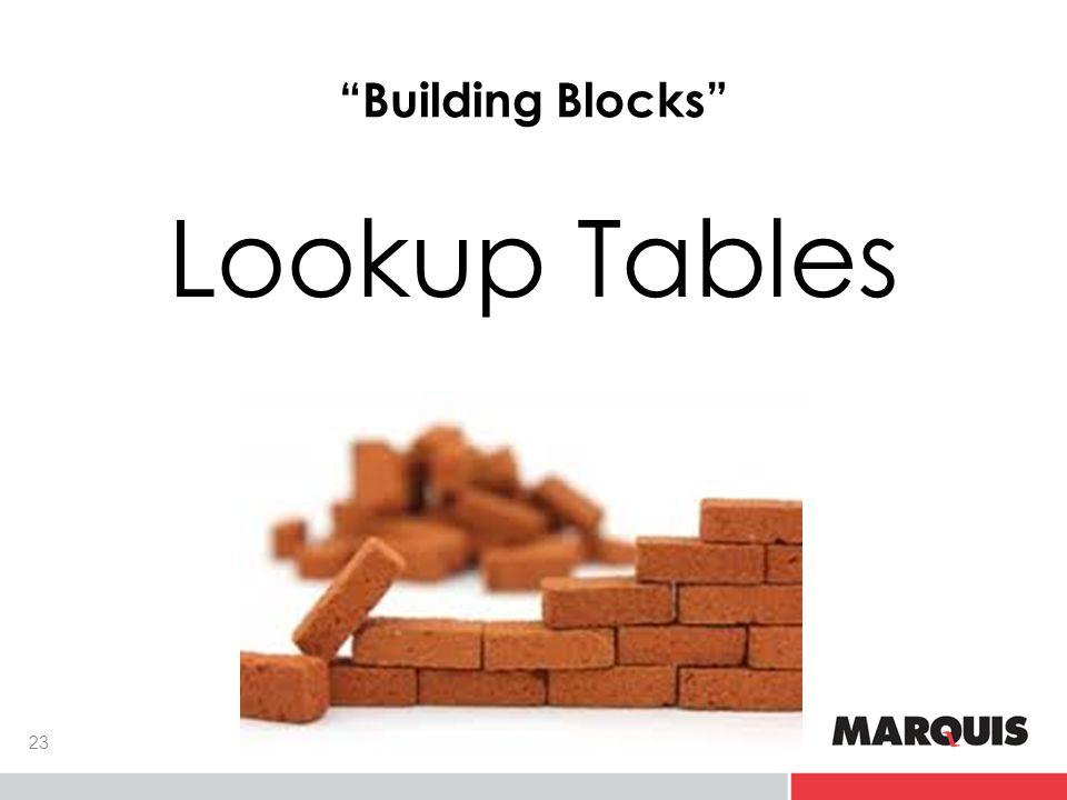 Building Blocks Lookup Tables 23