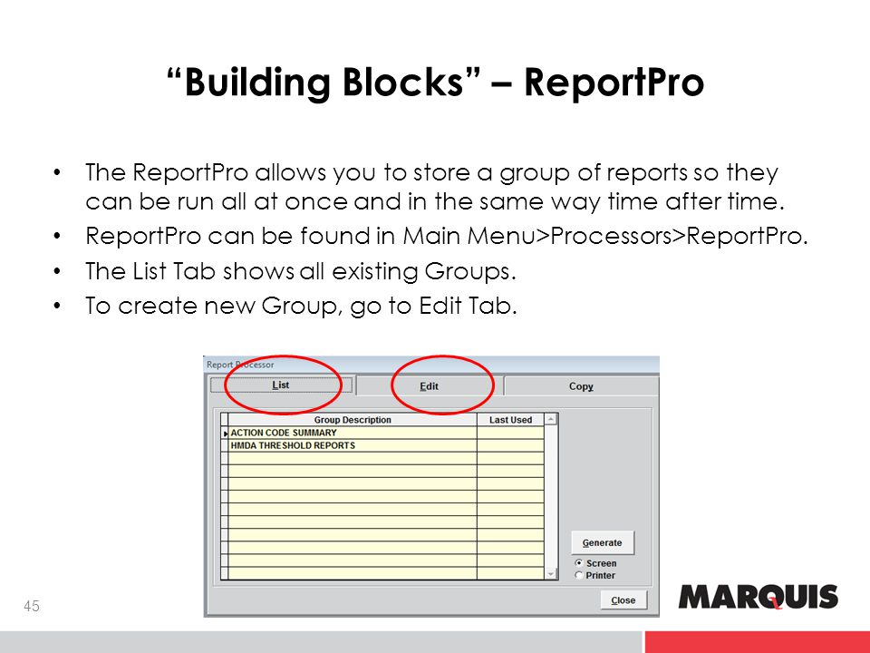 Building Blocks – ReportPro 45 The ReportPro allows you to store a group of reports so they can be run all at once and in the same way time after time.