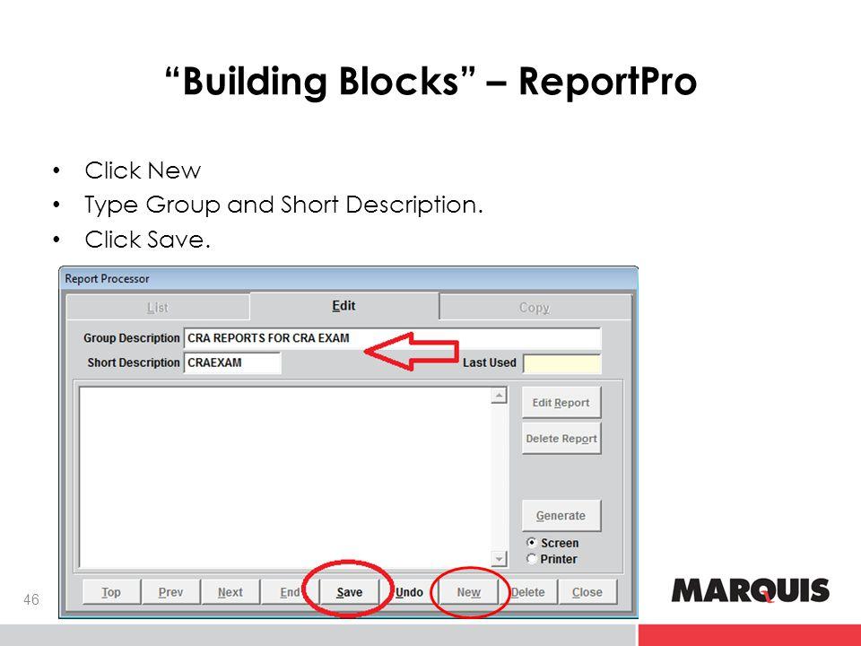 Building Blocks – ReportPro 46 Click New Type Group and Short Description. Click Save.