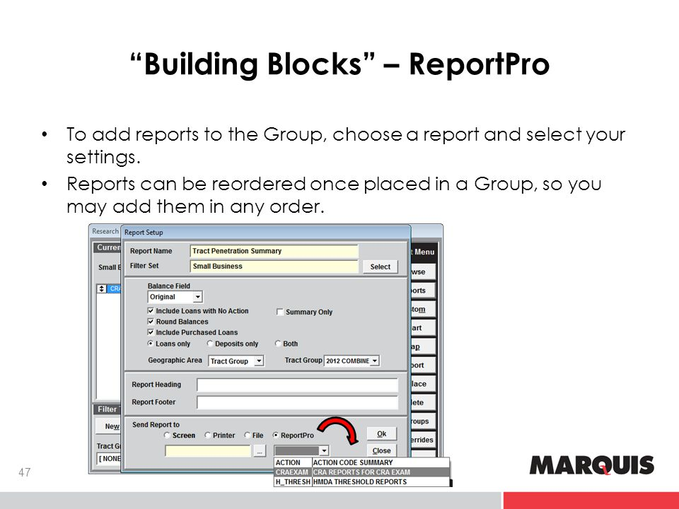 Building Blocks – ReportPro 47 To add reports to the Group, choose a report and select your settings.