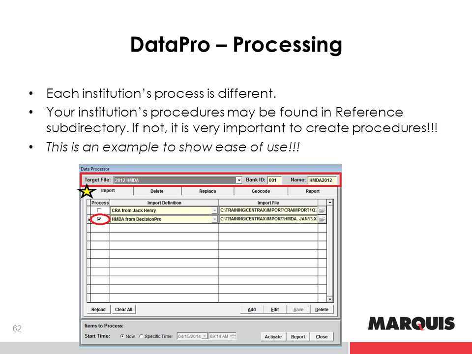 DataPro – Processing 62 Each institution's process is different.