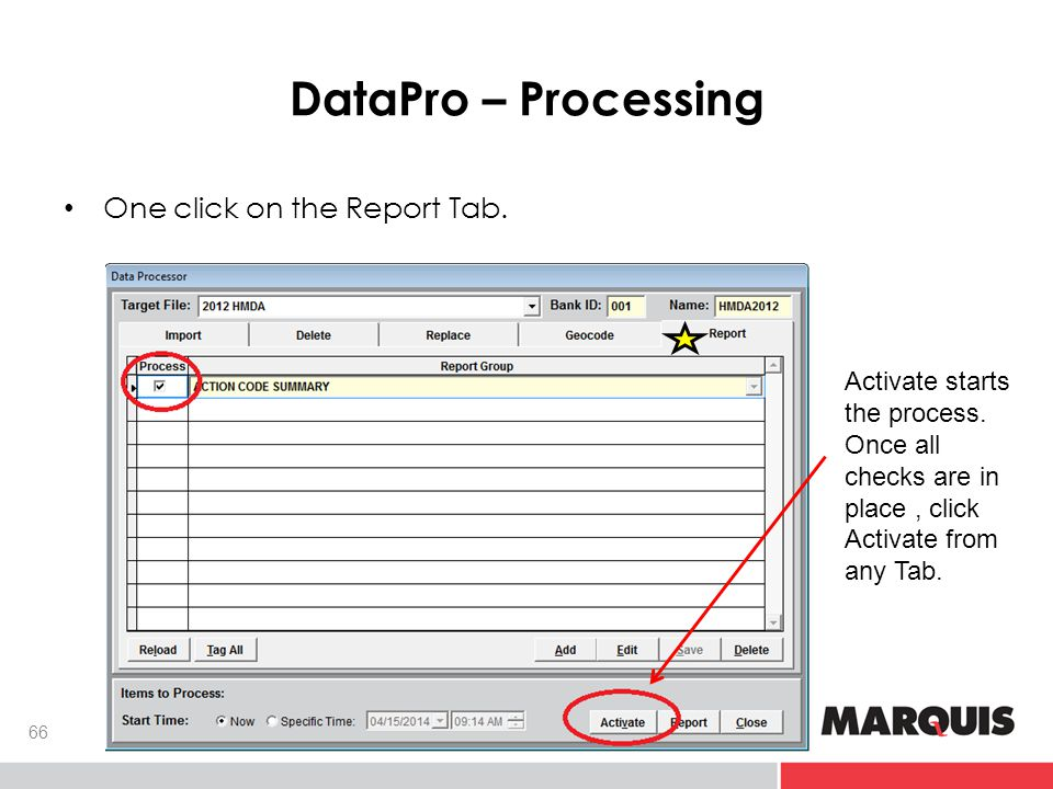 DataPro – Processing 66 One click on the Report Tab. Activate starts the process. Once all checks are in place, click Activate from any Tab.