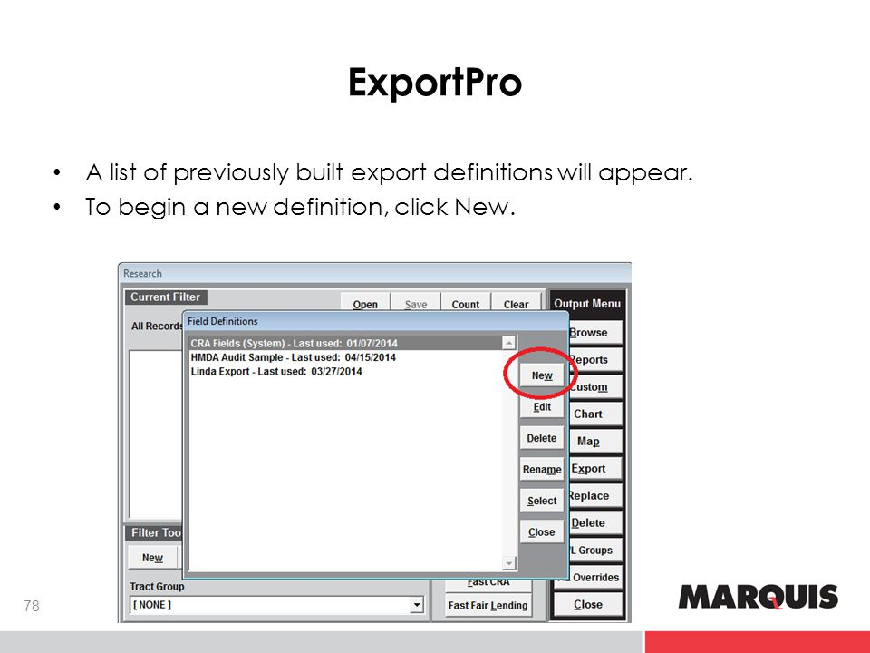 ExportPro 78 A list of previously built export definitions will appear.