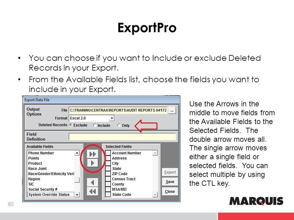 ExportPro 80 You can choose if you want to Include or exclude Deleted Records in your Export.