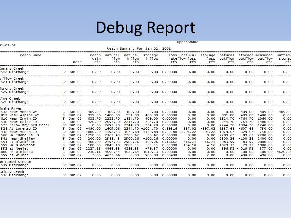 Debug Report