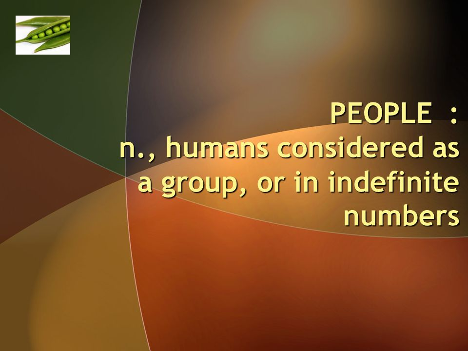 PEOPLE : n., humans considered as a group, or in indefinite numbers